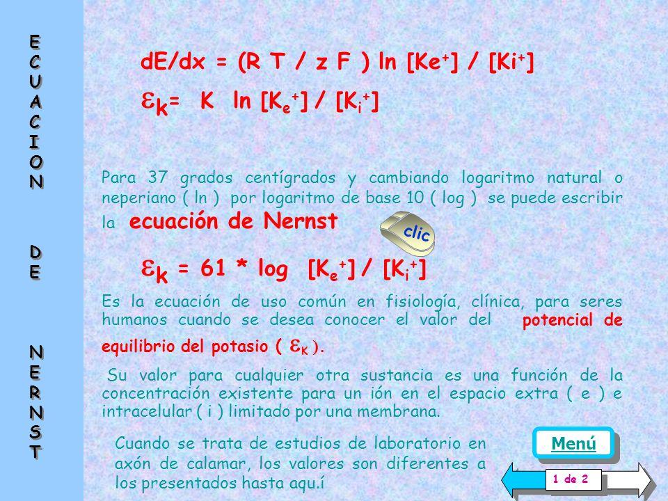 ek= K ln [Ke+] / [Ki+] ek = 61 * log [Ke+] / [Ki+]